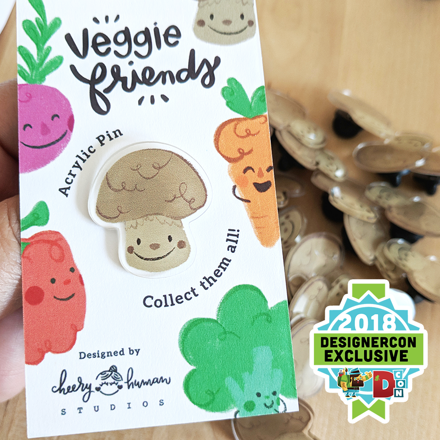 Veggie Friends: Mushroom - Acrylic Pin - DesignerCon Exclusive