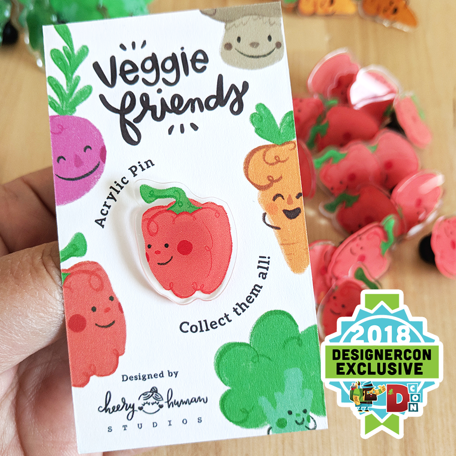 Veggie Friends: Pepper - Acrylic Pin - DesignerCon Exclusive