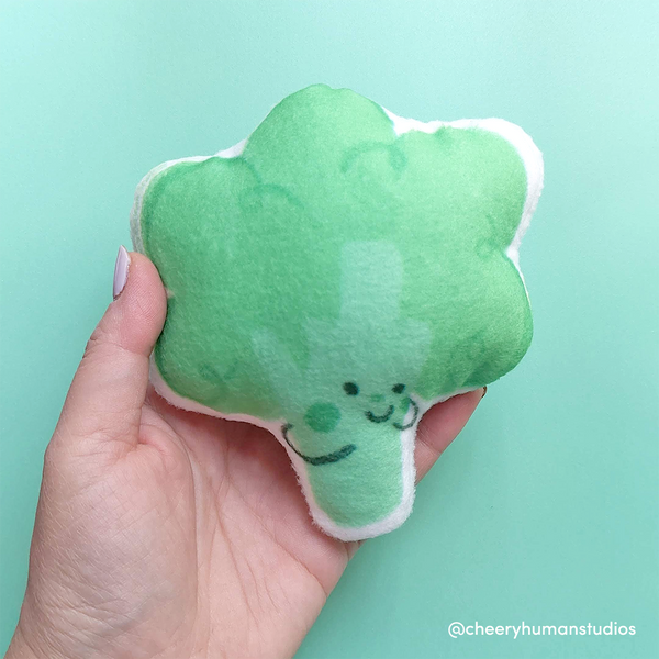 Broccoli - Handmade Vegetable Plush | Veggie Plushie | Hand-sewn Soft Pillow Doll