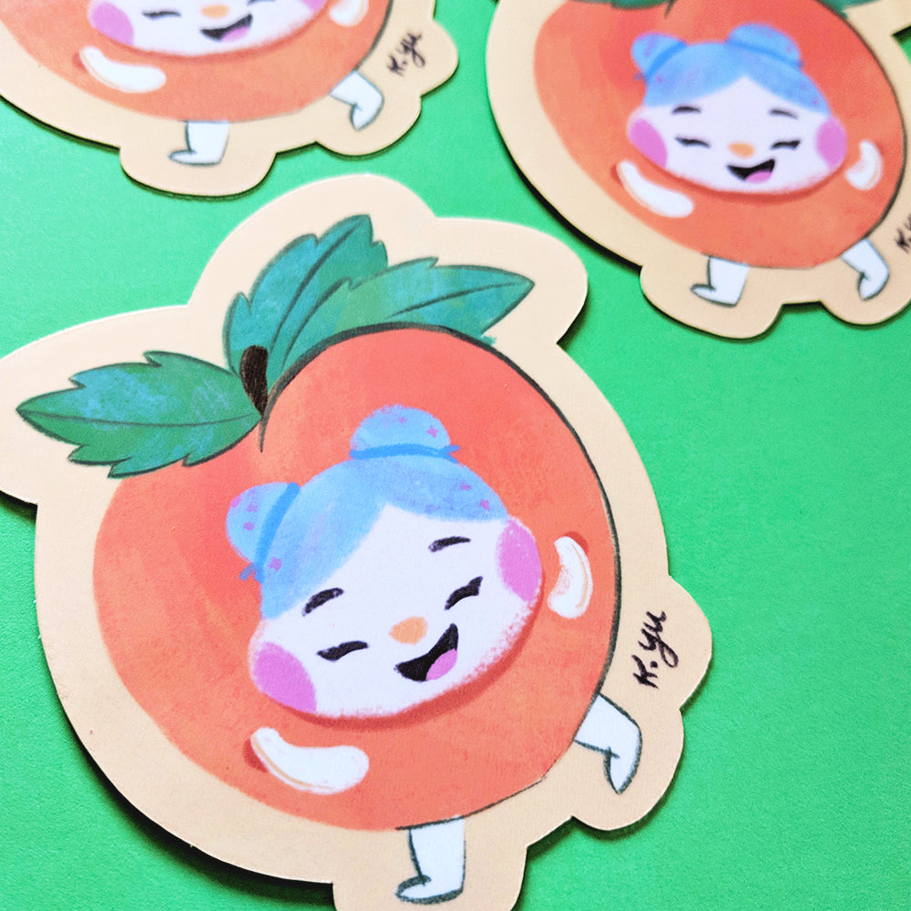 Cheery Peach - Handmade Vinyl Sticker