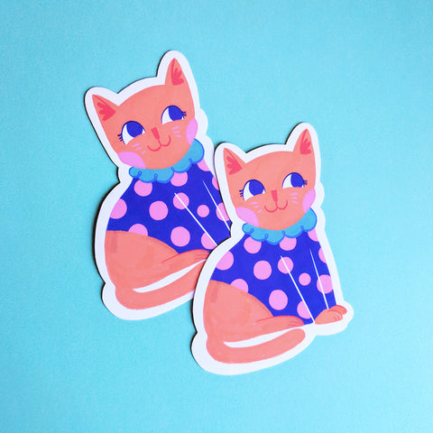 Cat in Polka Dots - Handmade Vinyl Sticker