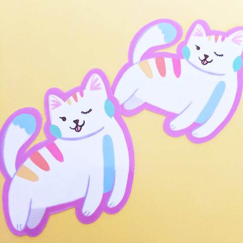 Rainbow Cat - Handmade Vinyl Sticker