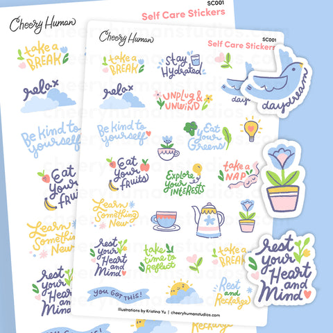 Self Care | Single Sticker Sheet or Pack of 5