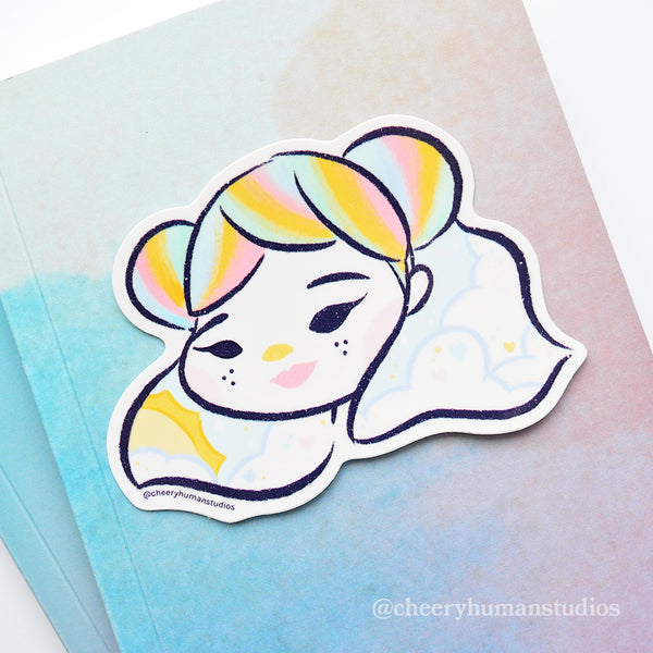 Rainbow Pastel Girl - Vinyl Sticker