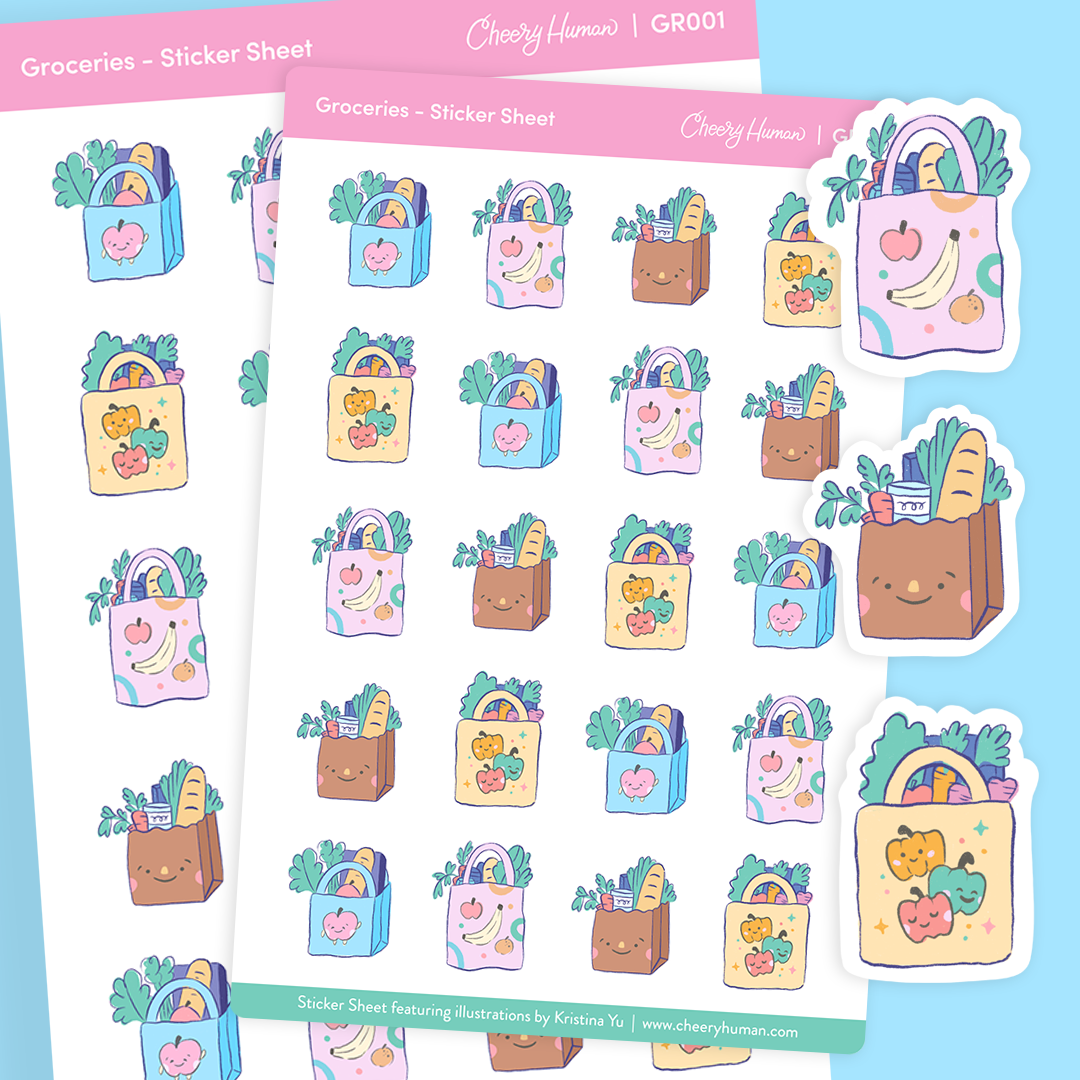 Groceries - Stickers | Single Sticker Sheet or Pack of 5
