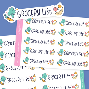 Grocery List - Stickers | Single Sticker Sheet or Pack of 5