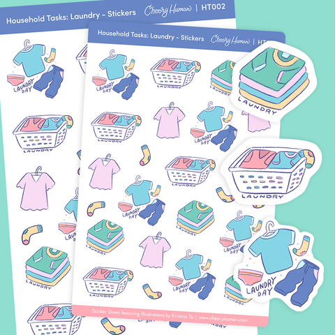 Household Tasks: Laundry - Stickers | Single Sticker Sheet or Pack of 5