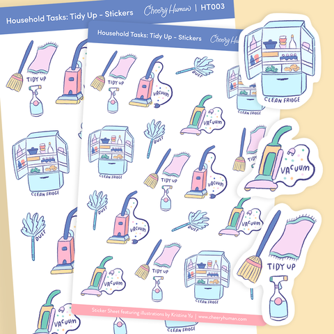 Household Tasks: Tidy Up - Stickers | Single Sticker Sheet or Pack of 5