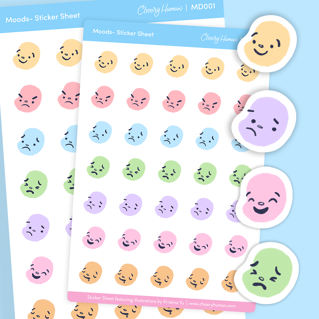 Moods - Stickers | Single Sticker Sheet or Pack of 5