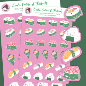 Sushi Cuties and Friends - Stickers | Single Sticker Sheet or Pack of 5