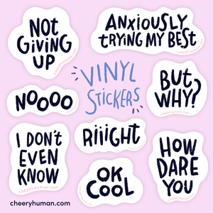 Thoughts & Feelings: Black | Handmade Vinyl Stickers | Individual or Pack of 8