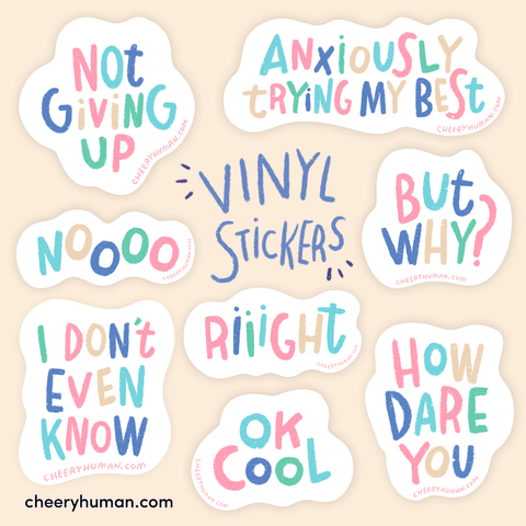 Thoughts & Feelings: Pastel | Handmade Vinyl Stickers | Individual or Pack of 8