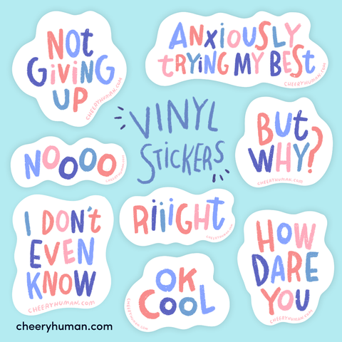 Thoughts & Feelings: Periwinkle | Handmade Vinyl Stickers | Individual or Pack of 8