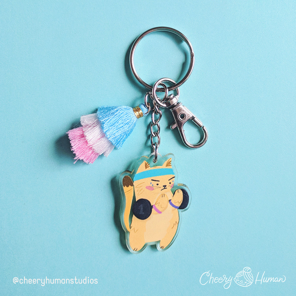 Gym Kitty - Clear Acrylic Keychain