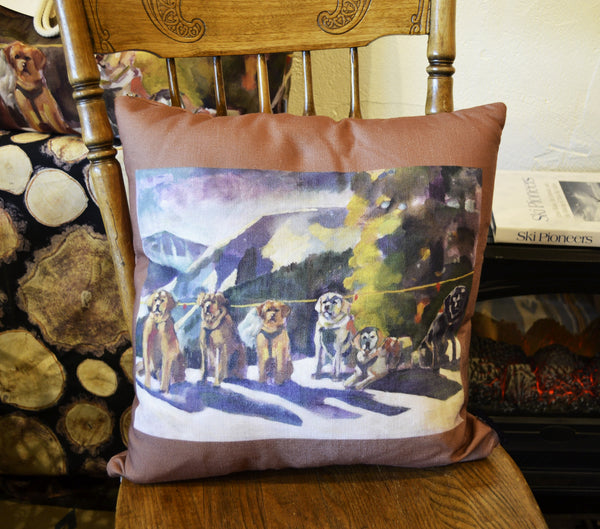 The Whole Gang Throw Pillow (Mountain Stewards / Coffee)