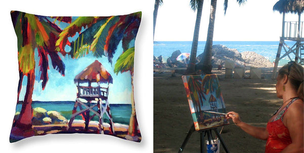 """Shaded Palms"" Throw Pillow"