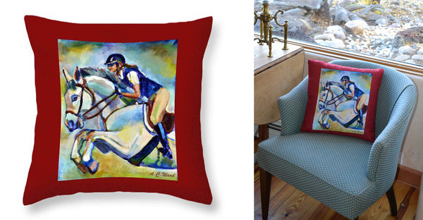 """Show Jumper"" Throw Pillow"