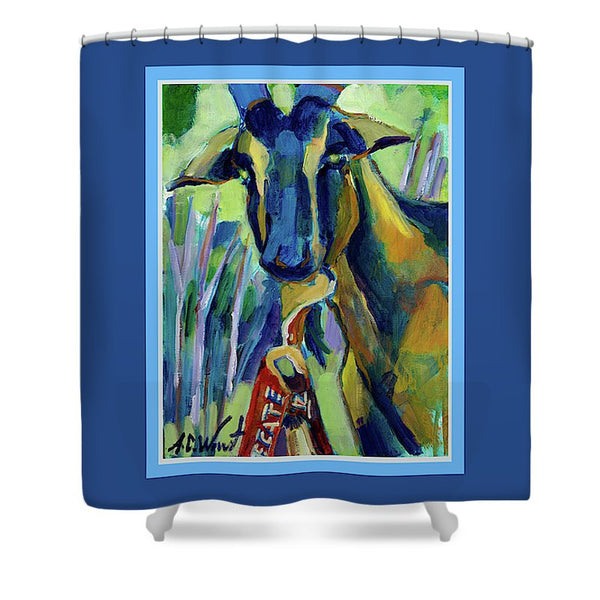 """Mr. Bill"" Shower Curtain - Blue Border"