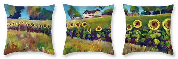 Sunflower Pillow Triptych