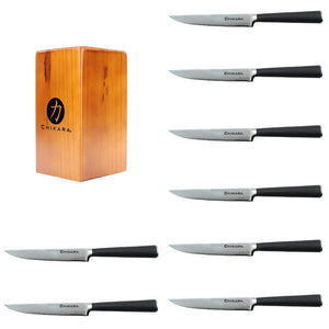 Ginsu Chikara Series 9 Piece forged steak knife set includes these items