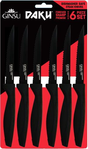 Daku® Series: Dishwasher Safe Black Coated 6 Piece Steak Set