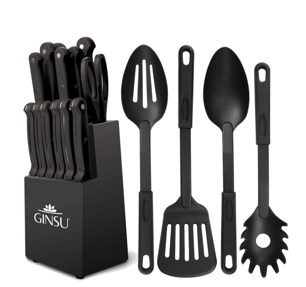 Ginsu®Kiso™ 18 Piece Black Set with Black Block - Ginsu