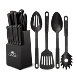 Ginsu®Kiso® 18 Piece Black Set with Black Block - Ginsu