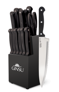 Ginsu®Kiso® 14 Piece Black Set with Black Block - Ginsu