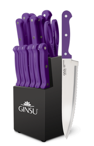 Ginsu®Kiso® 14 Piece Purple Set with Black Block - Ginsu