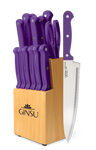Ginsu®Kiso® 14 Piece Purple Set with Wood Block - Ginsu