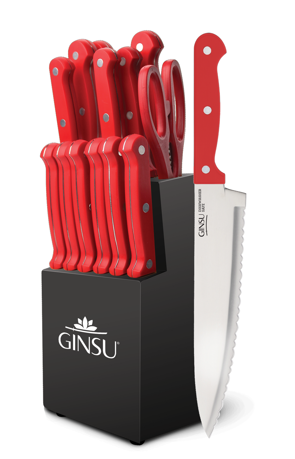 Ginsu®Kiso® 14 Piece Red Set with Black Block - Ginsu