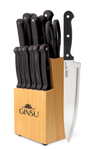 Ginsu®Kiso® 14 Piece Black Set with Wood Block - Ginsu