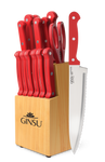 Ginsu®Kiso® 14 Piece Red Set with Wood Block - Ginsu