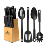 Ginsu®Kiso® 18 Piece Black Set with Wood Block - Ginsu