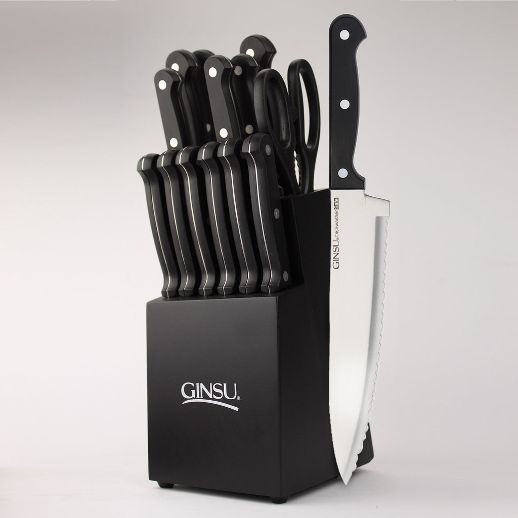 Ginsu Essentials Series: 14 Piece Black Cutlery Set in Black Block - Ginsu