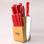 Ginsu DishwasherSAFE Series: 14 Piece Red Cutlery Set in Natural Block