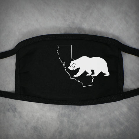 California Bear Mask – Adult Size Face Mask – Black