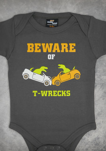 Beware of T-wrecks – Baby Charcoal Gray Onepiece & T-shirt