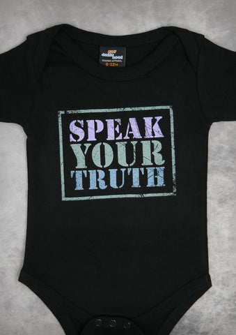 Speak Your Truth – Baby Black Onepiece & T-shirt
