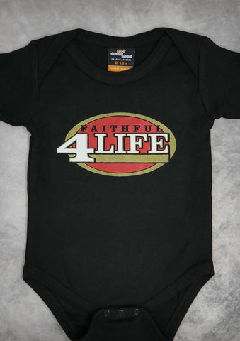 Faithful 4 Life (San Francisco 49ers) – Baby Black Onepiece & T-shirt