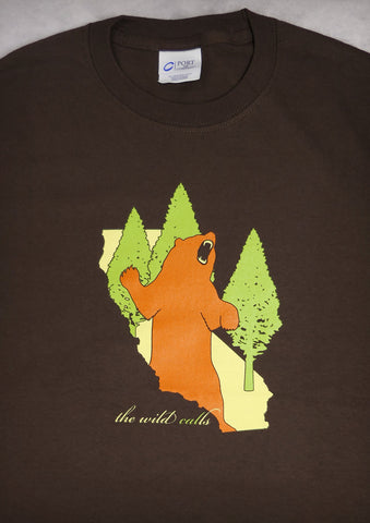 The Wild Calls (Bear) – California Men's Chocolate Brown T-shirt