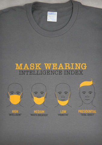 Mask Wearing Intelligence Index – Men's Charcoal Gray T-shirt