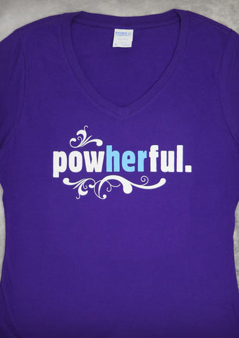 Powherful – Women's Purple V-neck T-shirt