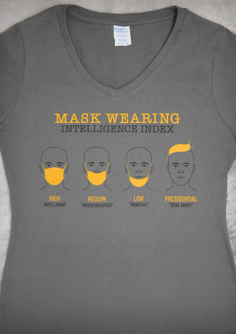 Masking Wearing Intelligence Index – Women's Charcoal V-neck T-shirt
