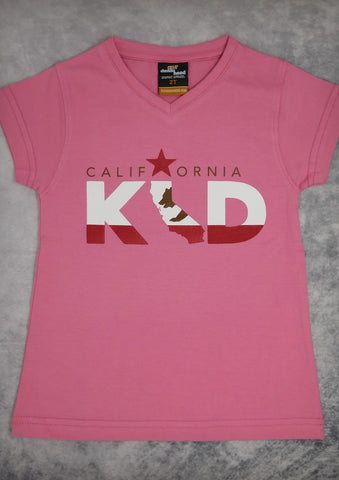 California Kid – Youth Girl Coral Pink & Black V-neck and Raspberry Crew Neck T-shirt