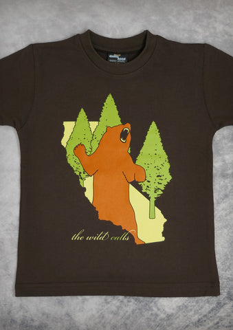 The Wild Calls (Bear) – California Youth Boy Chocolate Brown T-shirt