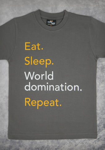 Eat Sleep World Domination Repeat – Youth Boy Charcoal Gray T-shirt