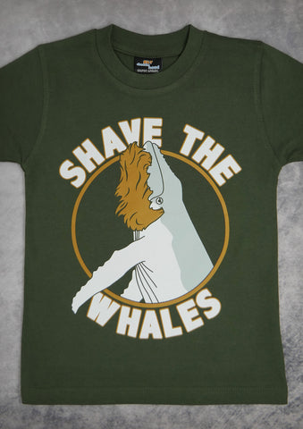 Shave the Whales – Youth Boy Olive Green T-shirt
