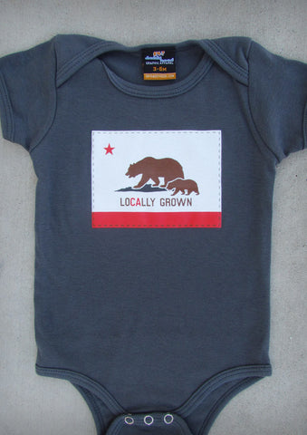 Locally Grown – California Baby Boy Charcoal Gray & Olive Green Onepiece & T-shirt