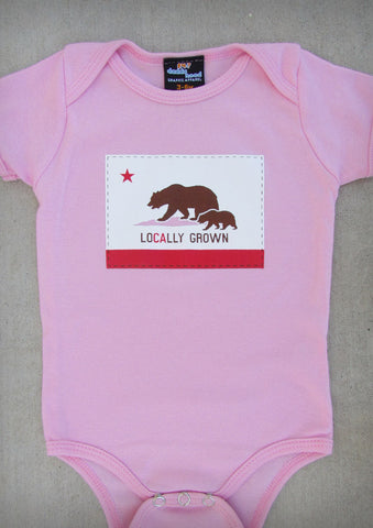 Locally Grown – California Baby Girl Pink & Charcoal Gray Onepiece & T-shirt